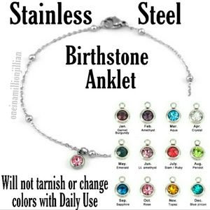 Jewelry - Stainless Steel Birthstone Ankle Bracelet